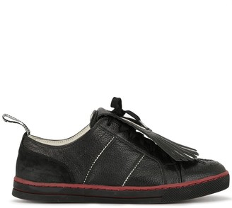 Chanel Pre Owned Fringed Logo Lace-Up Sneakers