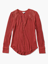 Lucky Brand Button Detail Long Sleeve Drop Needle Top