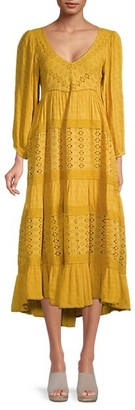 Free People Floral-Embroidery Tiered-Hem Maxi Dress