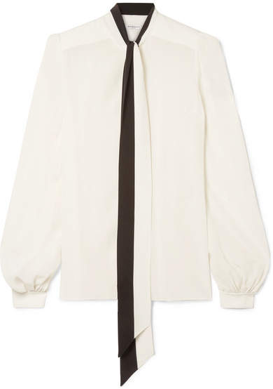 Givenchy Pussy-bow Silk Crepe De Chine Blouse - White