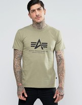 Alpha Industries T-shirt With Logo In Regular Fit Olive