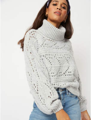 George Grey Open Weave Roll Neck Cropped Jumper