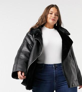 ASOS DESIGN Curve borg aviator jacket in black