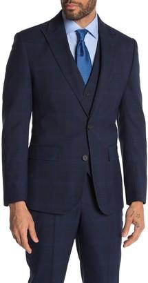 Moss Bros Dark Blue Plaid Two Button Peak Lapel Tailored Fit Suit Separates Jacket