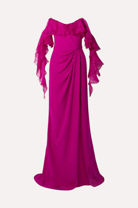 Marchesa Off-the-shoulder Ruffled Organza And Silk-crepe Gown - Fuchsia