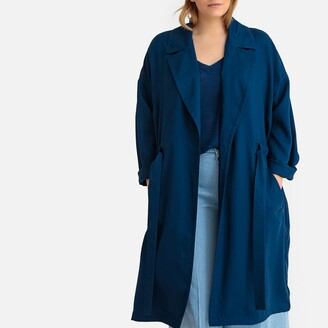Castaluna Plus Size Long Trench Coat with Tie-Waist