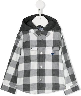 Emporio Armani Kids Checked Print Hooded Shirt