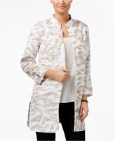 JM Collection Linen-Blend Printed Jacket, Created for Macy's