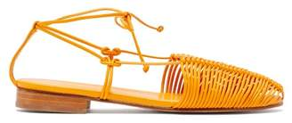 Hereu Valva Woven Leather Sandals - Womens - Orange