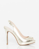 Le Château Metallic Leather-Like Peep Toe Slingback
