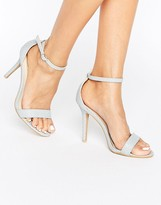 Glamorous Pale Gray Snake Print Two Part Heeled Sandals