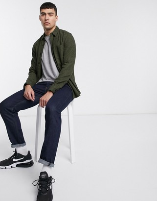 ASOS DESIGN regular fit flannel shirt in khaki