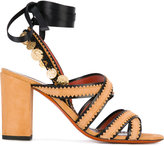 Santoni embellished lace-up sandals - women - Leather/Suede/Metal (Other) - 38.5