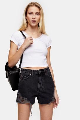 Topshop White Ribbed Crop Lace Trim T-Shirt