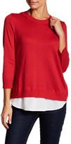 Susina Chiffon Trim Sweater (Petite)