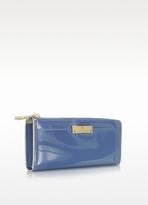 Marc Jacobs The Lex Denim Blue Patent Leather Zip Around Wallet