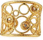 Roberto Coin Bollicine 18k Yellow Gold Small Cuff Ring w/ Diamonds, Size 6.5