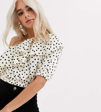 Topshop Petite one shoulder crop top with ruffle detail in spot print-Cream