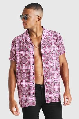 boohoo Mens Pink Short Sleeve Revere Collar Tile Print Shirt, Pink