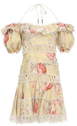 Zimmermann Ruffled Cutout Linen And Cotton-blend Mini Dress