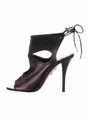 Aquazzura Sexy Thing Leather Sandals Black