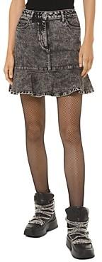 MICHAEL Michael Kors Flounced Acid-Washed Denim Midi Skirt