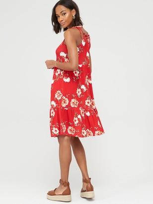 Very Tiered Jersey Tie Shoulder Short Dress - Red Print