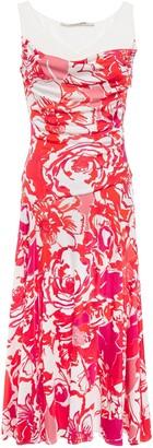 Roberto Cavalli Ribbed-paneled Printed Stretch-jersey Midi Dress