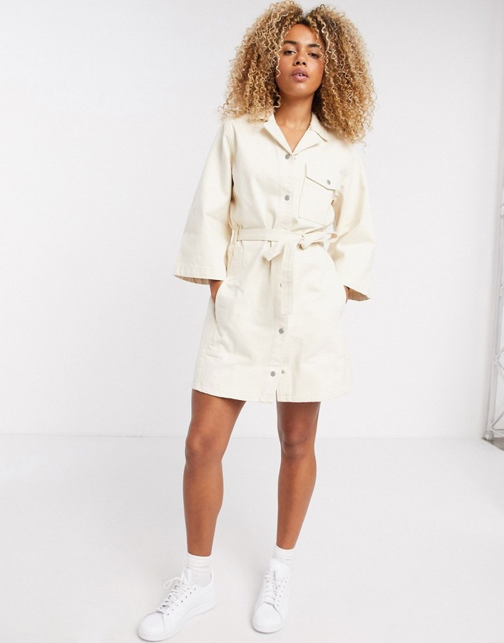 Thumbnail for your product : Weekday Ross organic cotton belted button-through denim dress in ecru