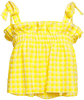 Ganni Bow-detailed Ruffle-trimmed Checked Seersucker Top