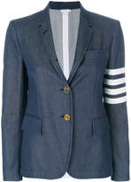Thom Browne Unconstructed High Armhole Single Breasted Sport Coat With 4-bar Stripe & Grosgrain Finishing In Blue Denim