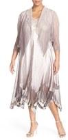 Komarov Plus Size Women's Embellished V-Neck Chiffon & Charmeuse Dress With Jacket