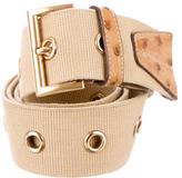 Prada Ostrich-Trimmed Belt