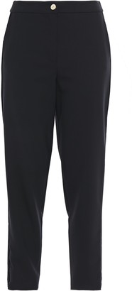 Just Cavalli Cropped Velvet-trimmed Crepe Tapered Pants