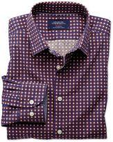 Charles Tyrwhitt Extra Slim Fit Blue and Orange Spot Print Cotton Dress Shirt Size XXL