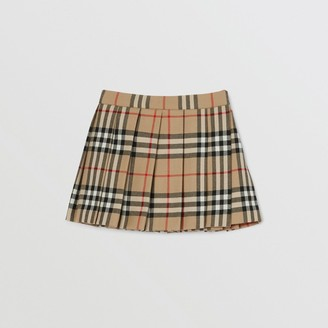 Burberry Childrens Vintage Check Wool Pleated Wrap Skirt