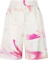 Matthew Williamson Printed silk-twill shorts
