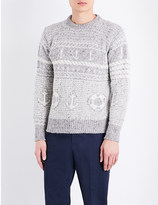 Thom Browne Fair Isle knitted wool-blend jumper