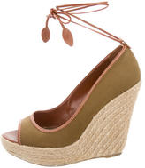 Sergio Rossi Canvas Espadrille Wedges
