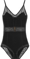 Balmain Lace-paneled Stretch-jersey Bodysuit - Black