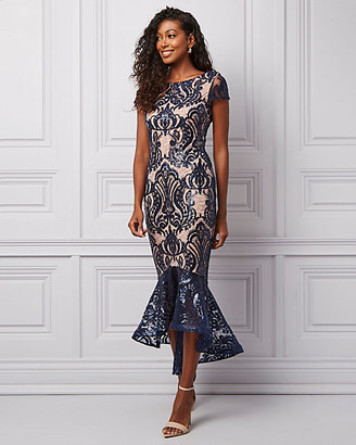 Le Château Embroidered Sequin & Mesh Boat Neck Dress