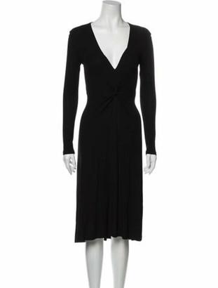 Celine V-Neck Midi Length Dress Black