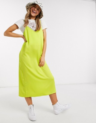 Monki Laila satin cami midi dress in lime green