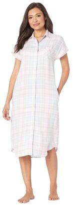 Lauren Ralph Lauren Rayon Twill Woven Short Sleeve Dolman His Shirt Ballet Sleepshirt (Multi Plaid) Women's Pajama