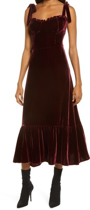 Reformation Antoinette Tie Strap Velvet Midi Dress