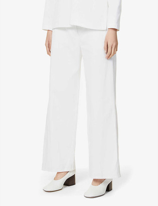 Patou Iconic wide-leg high-rise cotton-twill trousers