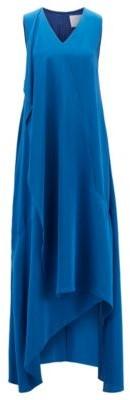 HUGO BOSS Long Length Sleeveless Dress In Silk With Waterfall Front - Blue