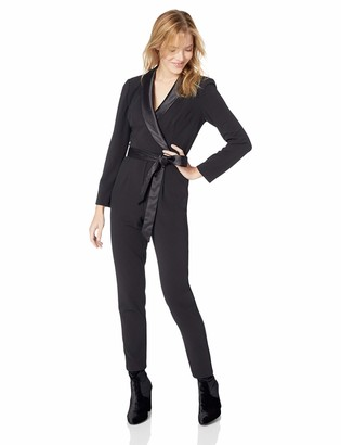 Adrianna Papell Women's Long Sleeve Wrap Top Knit Crepe Modern Jumpsuit