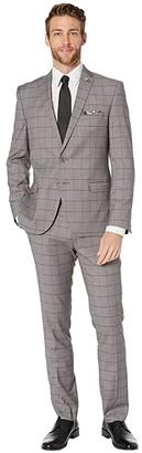Nick Graham Windowpane Plaid Suit (Grey Windowpane) Men's Suits Sets