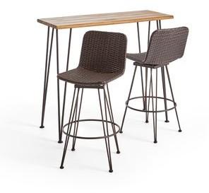 Christopher Knight Home Penley Outdoor Modern Industrial 3 Piece Acacia Wood Bar Set